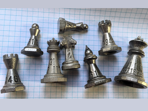 Chess shaped Dice Set in Polished Nickel Steel: Polyhedral Set