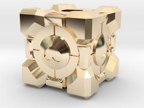 Companion Cube Lanyard Bead in 14K Yellow Gold