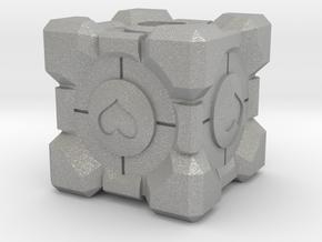 Companion Cube Lanyard Bead in Aluminum