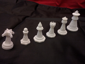 Chess shaped Dice (hollow) in White Natural Versatile Plastic: Polyhedral Set