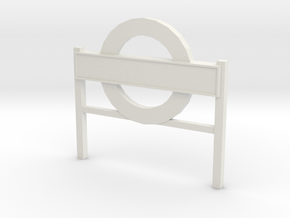 4mm Scale London Underground Platform Sign in White Strong & Flexible
