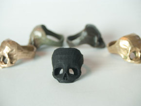 Black Nylon Skull Ring by Bits to Atoms in Black Strong & Flexible