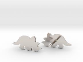 Regaliceratops Earrings in Platinum