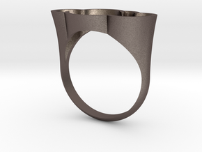 Cloud Ring, Every Cloud has a Silver Lining in Polished Bronzed Silver Steel: 6 / 51.5