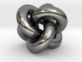 Borromean Rings Pendant in Polished Silver (Interlocking Parts): Medium