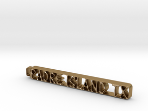 Padre Island Keychain in Polished Gold Steel