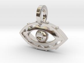 Evil Eye charm in Rhodium Plated Brass