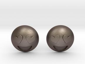 Heart Eyes Emoji in Polished Bronzed Silver Steel