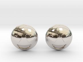 Heart Eyes Emoji in Rhodium Plated Brass
