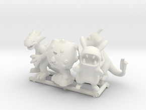 PokeFusion Minis - Set of 5 in White Strong & Flexible