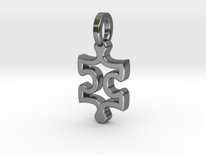 Puzzle Charm in Fine Detail Polished Silver