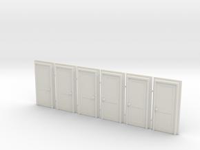 Door Type 4 - 810 X 2000 X 6 - HO Scale in White Strong & Flexible