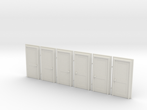 Door Type 4 - 810 X 2000 X 6 - OO Scale in White Natural Versatile Plastic