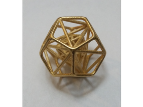 "Nested Platonic Solids 1.4"" in Polished Gold Steel"