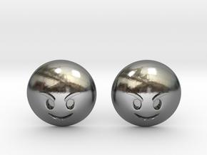 Evil Smile Emoji in Polished Silver