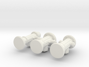 Hydrants in White Natural Versatile Plastic
