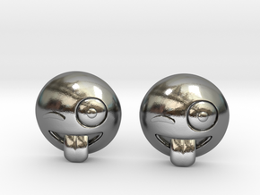 Winking Emoji in Polished Silver