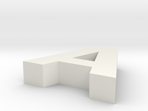 Letter A in White Natural Versatile Plastic