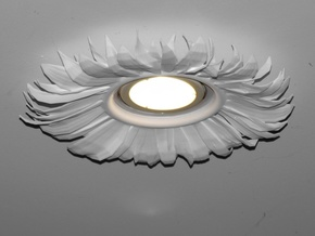 Light Fitting With Sunflower in White Natural Versatile Plastic