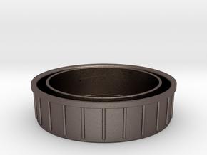 Topcon/Exakta Rear Lens Cap in Polished Bronzed Silver Steel