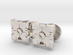 Portal companion cube cufflinks in Rhodium Plated Brass