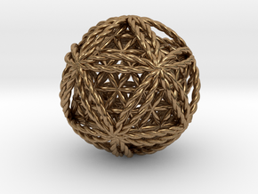 """Twisted Icosasphere w/nested FOL Icosahedron 1.8"""" in Natural Brass"""