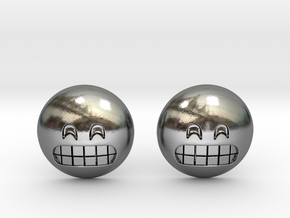 Grinning Emoji with Smiling Eyes in Polished Silver