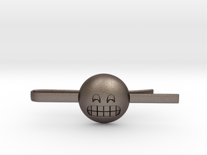 Grinning Tie Clip in Polished Bronzed Silver Steel