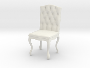 Tufted Dining Chair in White Natural Versatile Plastic: 1:12