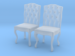 Tufted Dining Chair Set Of 2 in Smooth Fine Detail Plastic: 1:24