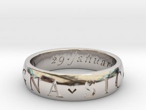 Size 11 Sir Francis Drake, Sic Parvis Magna Ring  in Rhodium Plated Brass