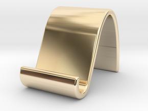 landschape & portrait phone stand 'Wave' in 14k Gold Plated Brass