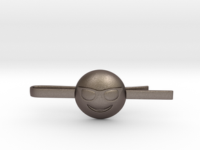 Cool Tie Clip in Polished Bronzed Silver Steel