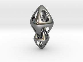Tetrahedron Double Interlocked in Polished Silver (Interlocking Parts)