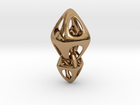 Tetrahedron Double Interlocked in Polished Brass (Interlocking Parts)