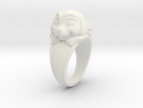 Dog Pet Ring - 17.35mm - US Size 7 in White Natural Versatile Plastic