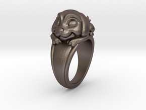 Dog Pet Ring - 17.35mm - US Size 7 in Polished Bronzed Silver Steel