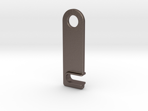 iPhone landscape stand keychain in Polished Bronzed Silver Steel