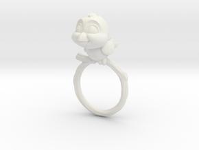 Bird Pet Ring - 17.35mm - US Size 7 in White Natural Versatile Plastic