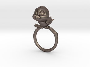 Bird Pet Ring - 17.35mm - US Size 7 in Polished Bronzed Silver Steel