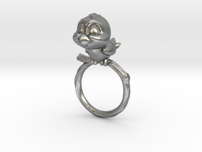 Bird Pet Ring - 17.35mm - US Size 7 in Natural Silver