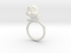 Bird Pet Ring - 18.19mm - US Size 8 in White Natural Versatile Plastic