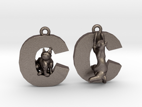 C Is For Cat in Polished Bronzed Silver Steel