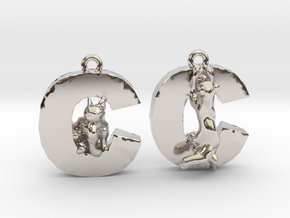 C Is For Cat in Rhodium Plated Brass