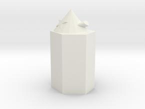 Pencil Topper in White Natural Versatile Plastic: Small