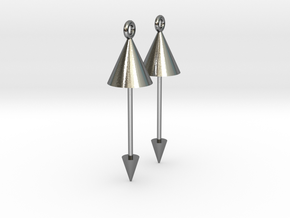 Earrings - Pendulum Dangle Earrings in Interlocking Polished Silver