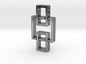 Geometric Pendant - Interlocked Rectangles in Polished Silver (Interlocking Parts)