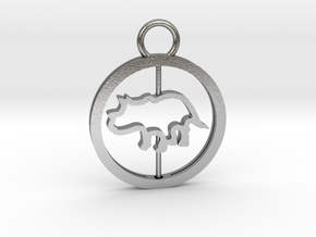 Turning Triceratops Baby Necklace in Natural Silver (Interlocking Parts)