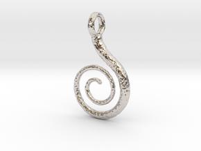Spiral Pendant Textured in Rhodium Plated Brass