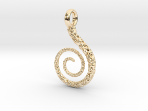Spiral Pendant Textured - Version 2 in 14k Gold Plated Brass